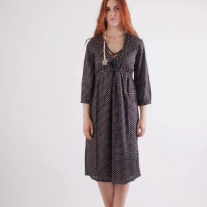 Black-small dots-nigth dress