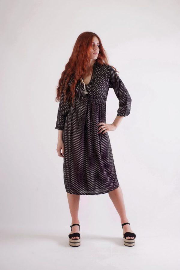 Black-small dots-nigth dress