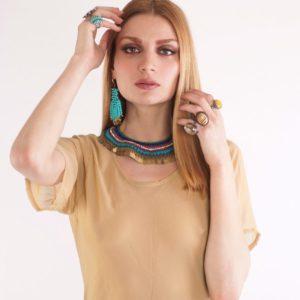 Bohochic Mάξι φόρεμα, μονοκόματη ραφή στο χρώμα της άμμου