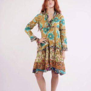 Gipsy dress Εβαζέ φόρεμα με μακρύ μανίκι