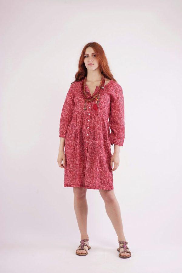 Κόκκινο Πουά Φόρεμα