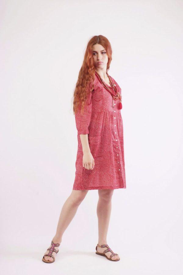 Κόκκινο Πουά Φόρεμα 5