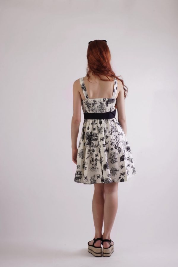 Sun dress Μέχρι το γόνατο με μαύρη ζώνη