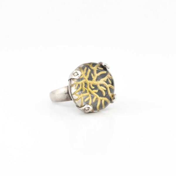 Handmade Silver (925) Boho Ring with glass and gold threads