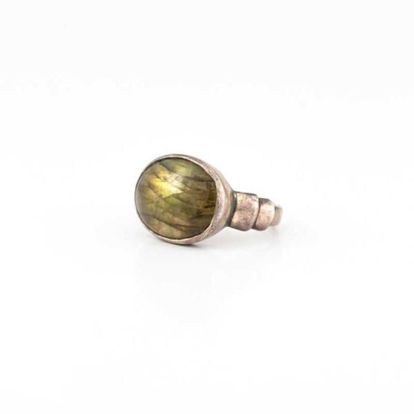 Handmade Silver (925) Boho Ring with labradorite stone