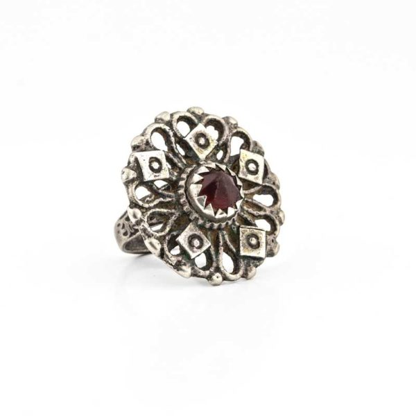 Handmade Silver (925)  Boho Ring with grenade stone
