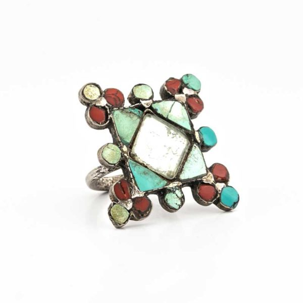 Handmade Silver (925) Boho Ring with coral and turquoise stones