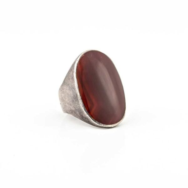 Handmade Silver (925) Boho Ring with carnelian stone