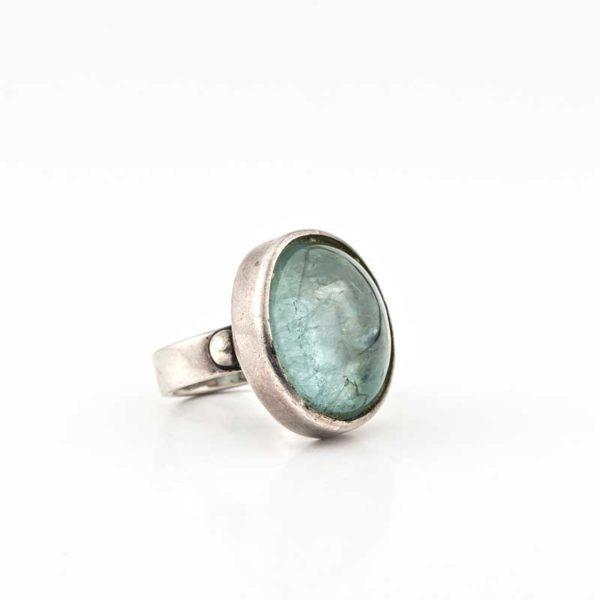 Handmade Silver (925) Boho Ring with aqua marine stone
