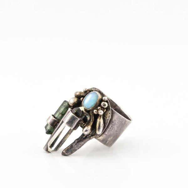 Handmade Silver (925) Boho Ring with small opaline