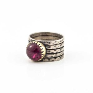 Handmade Silver (925) Boho Ring with gold and amethyst