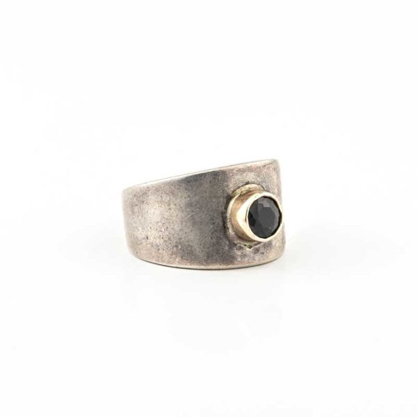 Handmade Silver (925) Boho Ring with gold and black stone