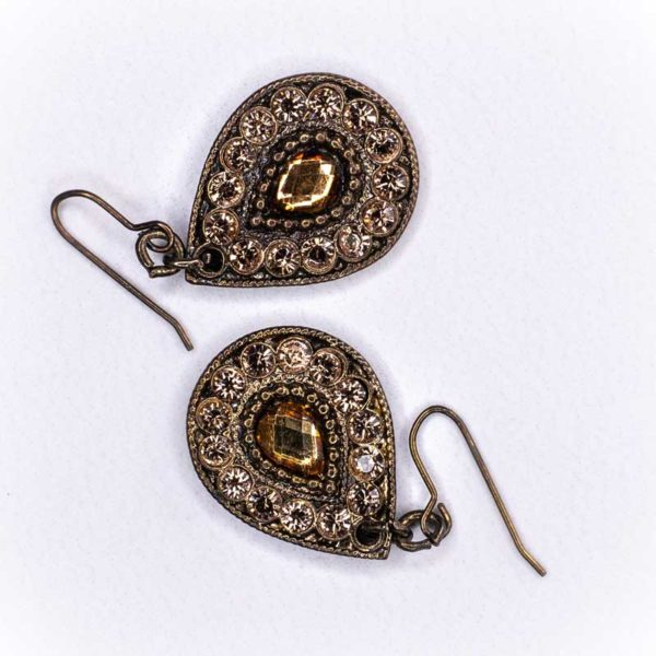 Boho Earrings with Brass and rose gold strass
