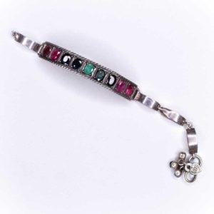 Handmade Silver Boho Bracelet with Precious Stones