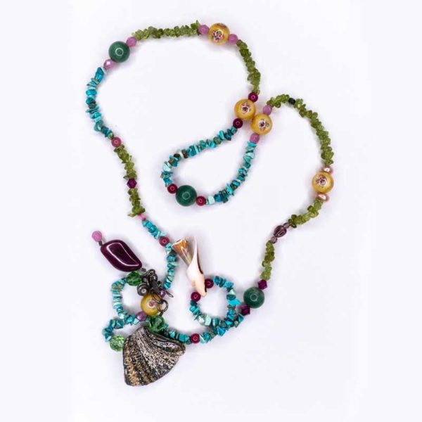 Handmade Boho Necklace with Semiprecious Stones (Turquoise