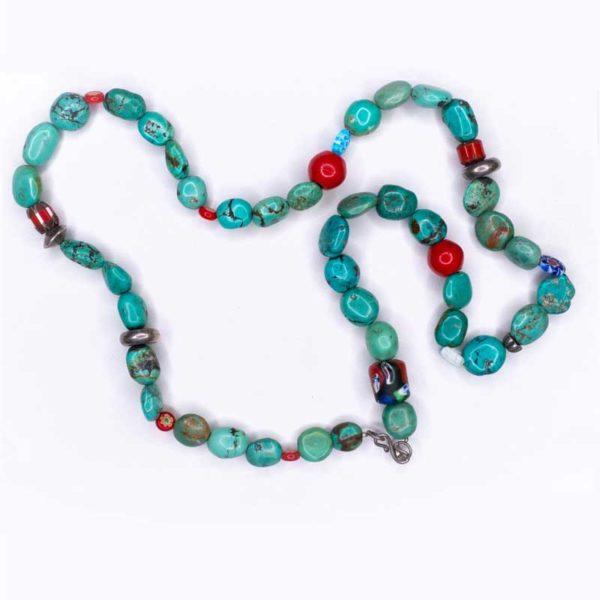 Handmade Boho Necklace with large turquoise stones