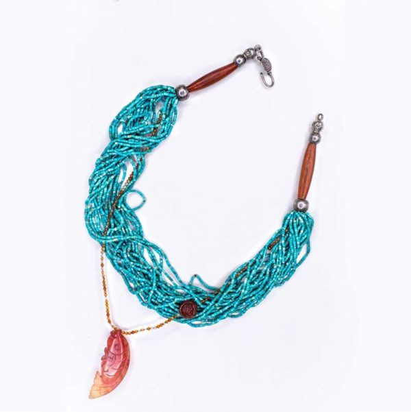 Handmade Boho Necklace with a fish design made from corals and tiny turquoise stones