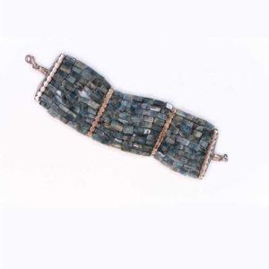Handmade Boho Bracelet with shiny blue lagoon agate stones