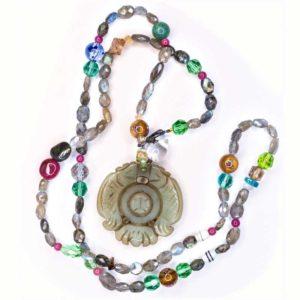 Handmade Boho Necklace with semi precious stones and an agate euphoria symbol