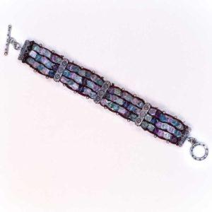 Handmade Boho Bracelet with silver and semi precious stones tourmalines