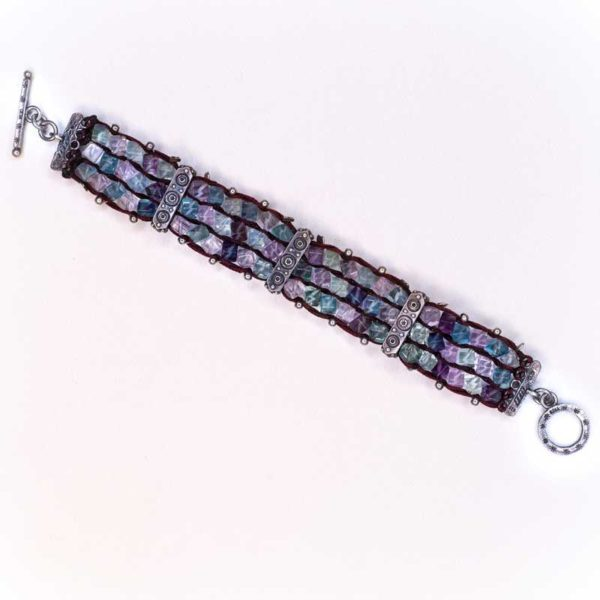Handmade Boho Bracelet with silver and semi precious stones tourmalines