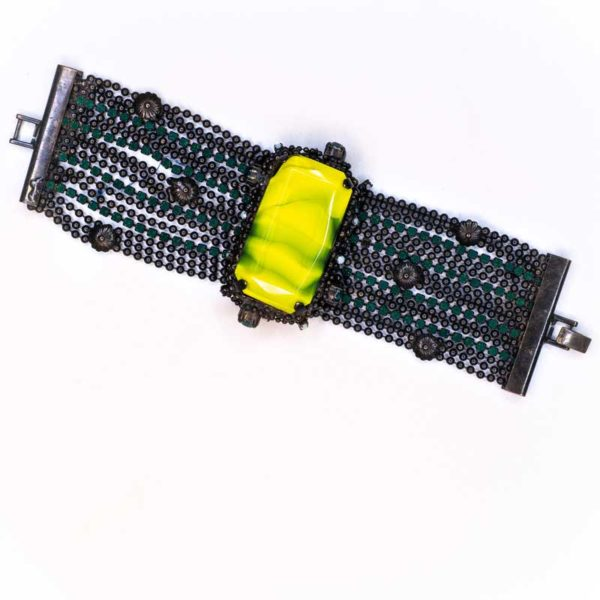 Handmade Boho Bracelet faux renaissance with large yellow-green stone