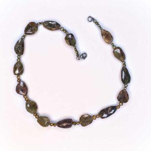 Handmade Boho Necklace with labradorite stones bonded with brass