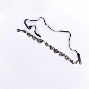 Handmade Boho Bracelet with strass stones and white beads on velvet thread