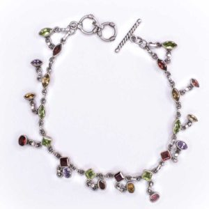 Silver chain Anklet and tourmaline crystals