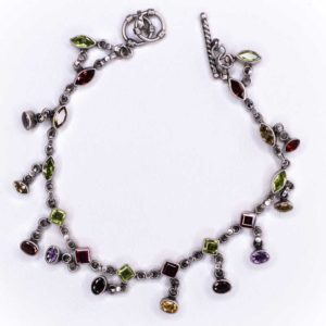 Silver chain Anklet With tourmalines Crystals