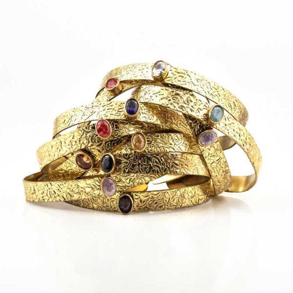 Copper Boho Bracelet with semi precious stones