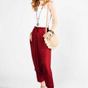 Red Afghan Pants Boho Μεταξωτή Παντελόνα