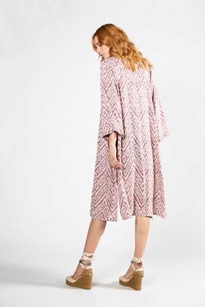 Boho Style Soft Pink Kimono Ροζ Εμπριμέ