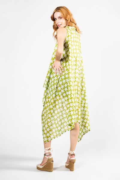 Πράσινο Με Λευκά Αστέρια Παρεό Φόρεμα Βαμβακερό Παρεό -Φόρεμα
