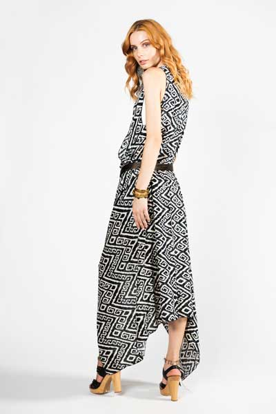 Ασπρόμαυρο Παρεό Φόρεμα - Βαμβακερό Παρεό -Φόρεμα