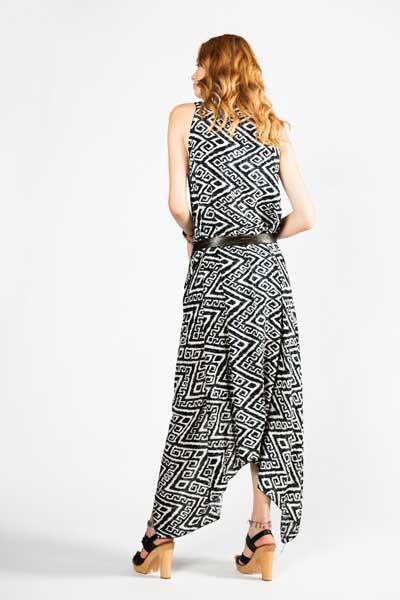 Ασπρόμαυρο Παρεό Φόρεμα - Βαμβακερό Παρεό -Φόρεμα -back