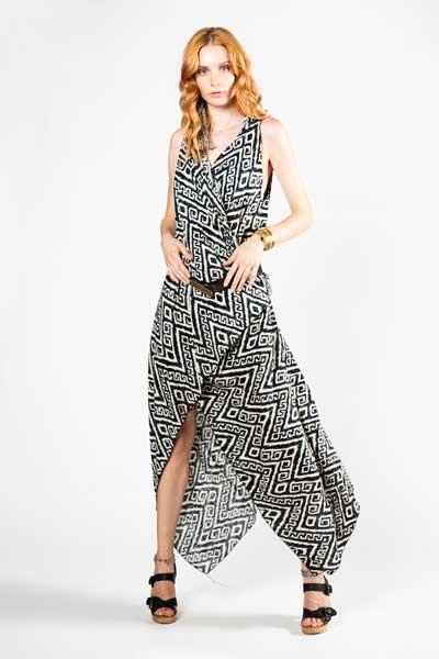Ασπρόμαυρο Παρεό Φόρεμα - Βαμβακερό Παρεό -Φόρεμα -front