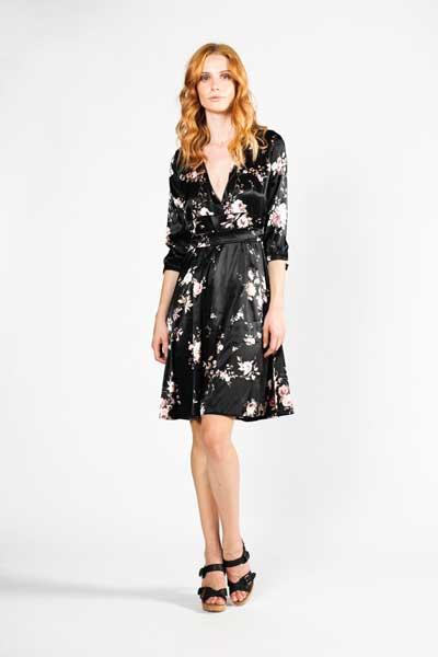 Μαύρο Με Λευκό Μικρό Λουλούδι Boho Μεταξωτό Φόρεμα