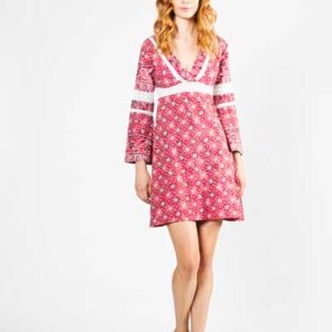 Red With Lace Boho Mini Βαμβακερό Φόρεμα