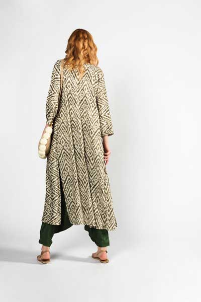 Boho Style Forest Breeze Kimono Πράσινο Εμπριμέ