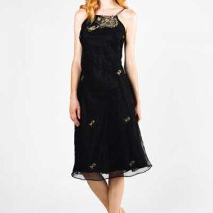 Blacκ-Naked Back Μεταξωτό Boho Φόρεμα