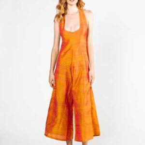 Orange Jumpsuit Boho Φόρμα Από Ακατέργαστο Μεταξωτό