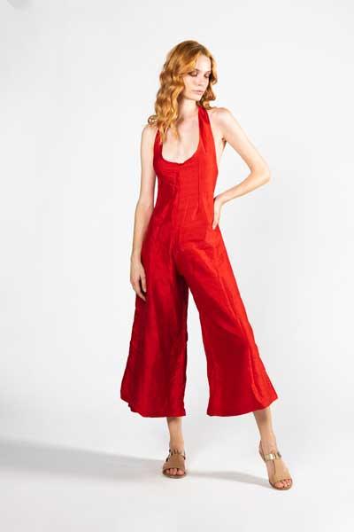 Red Jumpsuit Φόρμα Από Ακατέργαστο Μεταξωτό