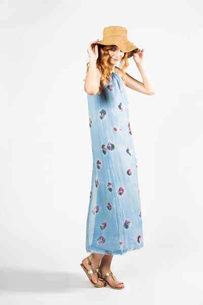 Blue With Red Poppies Dress Βραδινό Μάξι