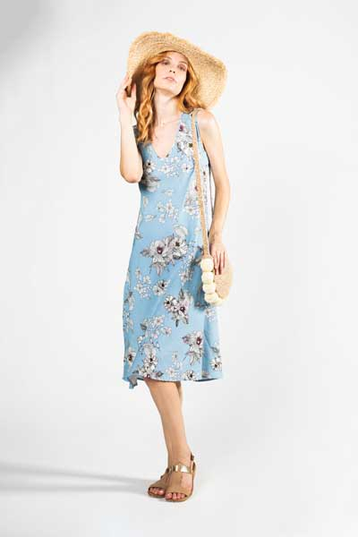 Free Spirit Midi Φόρεμα Γαλάζιο Με Άσπρο Λουλούδι