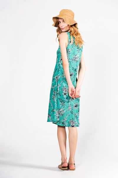 Hippie Girl Midi Φόρεμα Πράσινο Σμαραγδί Με Μαύρο Λουλούδι