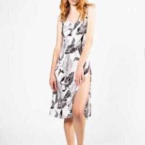 Innocence Midi Φόρεμα Λευκό Με Μαύρο Λουλούδι