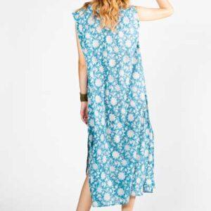 Long Blue Cotton Dress Boho Μακρύ Φόρεμα Μπλε Εμπριμέ