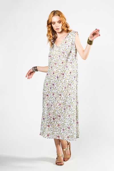 Long White Cotton Dress Boho Μακρύ Φόρεμα Λευκό Με Διακριτικό Σχέδιο Λουλουδιού