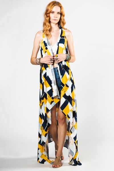 Μπλε Και Κίτρινο Παρεό Φόρεμα Βαμβακερό Παρεό -Φόρεμα